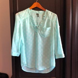 Maurices green 3/4 sleeve sheer blouse